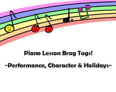 Piano Lesson Brag Tags- Performance, Character, Holidays