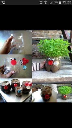 Gjenbruk av brusflaske. Genialt til bruk for blomsterpotte.