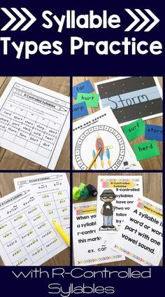 Syllable Types: R-Controlled Vowels Orton-Gillingham Multisensory Activities Phonemic Awareness Activities, Phonics Activities, Phonological Awareness, Teaching Reading, Learning, Reading Games, Reading Lessons, Reading Skills, Teaching Ideas