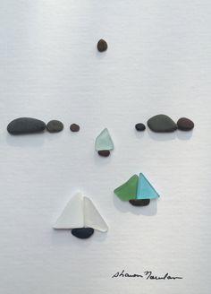 Arte di ghiaia barca vela vetro di mare da sharon di PebbleArt