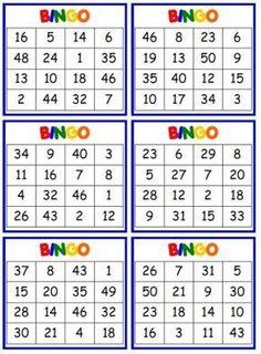 BINGO Game - Numerals 1-50