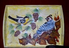 """Wooden tray with acrylic painted birds.  This is a project from a """"One-Stroke Painting"""" class I took."""