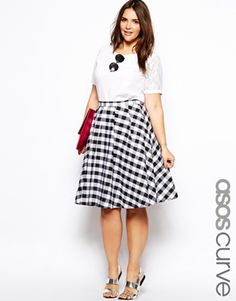 Image 1 of ASOS CURVE Exclusive Midi Skirt In Gingham Check