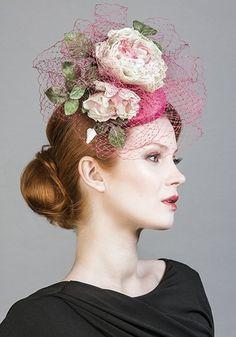 Rachel Trevor Morgan -- R1672 - Pink silk taffeta pillbox with toned handmade flowers and veil
