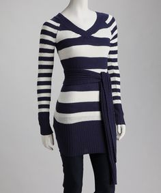 Take a look at this Navy Stripe Sweater & Scarf by Style Seeker: Women's Apparel on #zulily today!