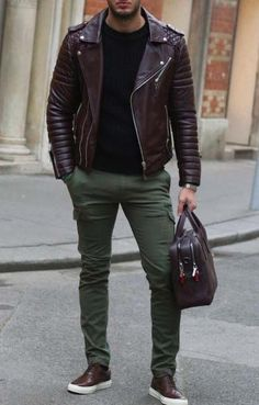 stylish men // mens fashion // leather bag // leather jacket // green…