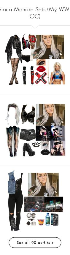 """Airica Monroe Sets (My WWE OC)"" by atomic-blaster ❤ liked on Polyvore featuring Volcom, Lime Crime, Jeffrey Campbell, Zero Gravity, Levi's, Alexis Bittar, Topshop, UNIF, Faith Connexion and Dsquared2"