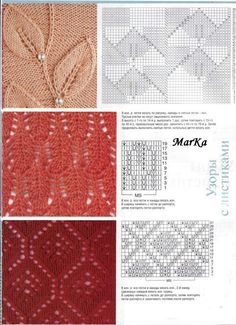 .gorgeous leaf and lace knitting stitch charts