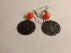 Coin Earrings Orange Bead Gold Tone Pierced Vintage Moroccan Style #Unbranded #DropDangle
