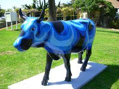 "La Jolla, California - Cows on Parade 2009 - ""River Cow"" - 34 life size fiberglass cow statues"