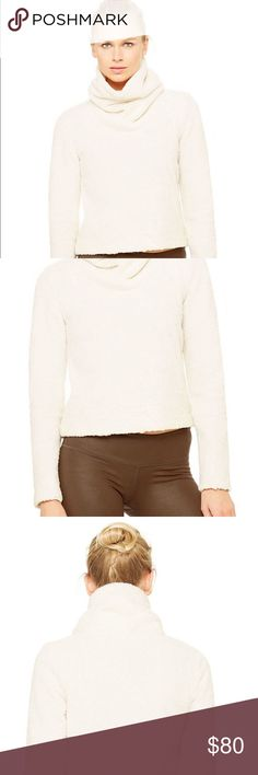 """Alo """"Asker"""" Sherpa Crew Pullover Stay cozy 24/7 in this wear-anywhere staple. Complete with a super-soft wash, the Asker Sherpa Crew boasts an oversized collar for serious warmth and coverage. Chilly days - and beach summer nights - have never looked so good. ALO Yoga Sweaters Cowl & Turtlenecks"""