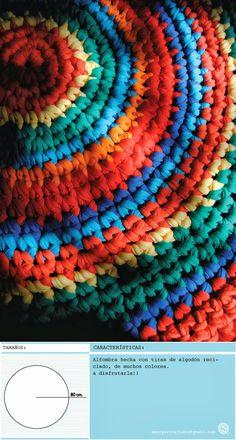 alfombra redonda de 80cm. hecho con material reciclado