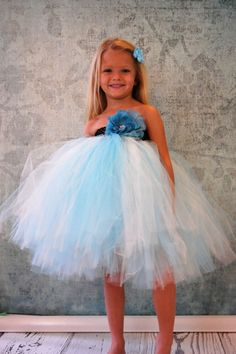 Free Shipping to US Blue and Ivory Flower Girl by PoshPixieTutu, $65.00