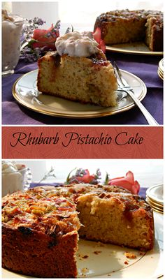 Rhubarb Pistachio Cake - Frugal Hausfrau adapted from Martha Stewart. Casual, a little sophisticated and easy!