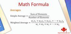 #MathFormula #math #formula Averages Via DegreeFromCanada