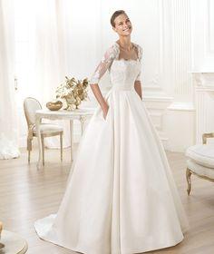 A Pronovias apresenta o vestido de noiva Leslie. Costura 2014. | Pronovias