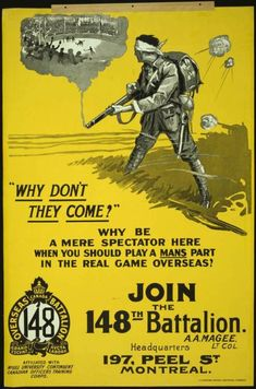 """""""Why don't they come? … join the 148th Battalion"""" - A Canadian recruitment poster from WWI shows a solider in battle with vignette of hockey game rising from his smoking rifle. c.1914-1918."""