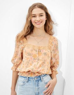 AE Square Neck Bubble Top Lace Trim, American Eagle Outfitters, Bubbles, Short Sleeves, Feminine, Style Inspiration, Floral, Shirts, Color