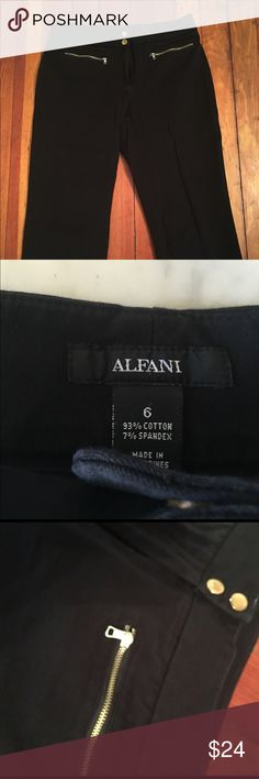 """Alfani Cropped Dress Pants Stylish, black cropped pants. Size 6. Approx. 28"""" from waist to hem. Two gold-button snap closure and gold zippered pockets. Alfani Pants Ankle & Cropped"""