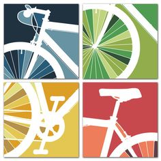 CANVAS // 4 Panel Bike Art // Bike Art Cycle Bicycle Bike