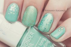 IsaDora - Pistachio nail polish mint skittle nail art manicure MoYou London stamping