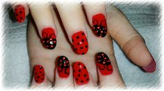 Lady bug nails red polish