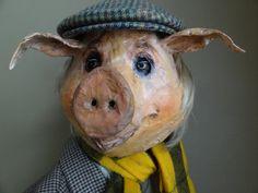 Bebe papier mâché masque animaux cochon masque cochon costume