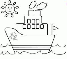 Ship Coloring Page For Kids - Transportation Coloring pages of . Easy Drawings For Kids, Drawing For Kids, Art For Kids, Coloring Book Pages, Printable Coloring Pages, Transportation For Kids, Kindergarten Coloring Pages, Kids Canvas, Coloring Pages For Kids