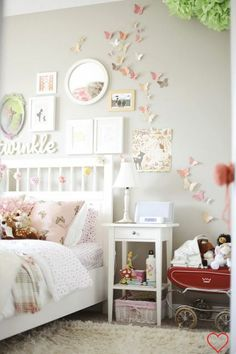 ADORE The Butterflies Flying Up Wall Of This Little Girl Bedroom