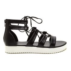 24f1271e1af488 Dance Number Faux Leather Sandals BLACK ( 20) ❤ liked on Polyvore featuring  shoes