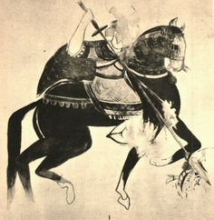 Mounted warrior saint from the Rivergate Church of Faras (12th century).