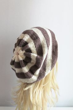 Brown and Cream Striped Baggy Beanie Hat by fairstore on Etsy, $35.00
