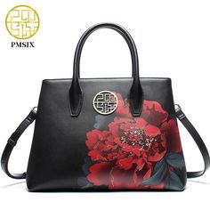 $67.60 New Arrival Leather Women Handbag Flower Printing Fashion Double Zip Ladies Shoulder Bag Black Tote Bag