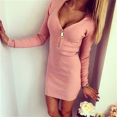 Plunging Neck Zippered Bodycon Dress (Pink, Gray, Apricot Available) Pink Dress, Party Dresses, Cold Shoulder Dress, Bodycon Dress, Zipper, Gray, Color, Collection, Style