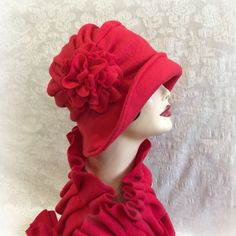 Women's Cloche, Warm Winter Hat, The Alice, Flapper Style Cloche, Red Fleece Hat, Fleece Hats Women, Downton Abbey Hats, Handmade in the USA
