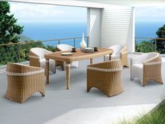 Amigo - meble ogrodowe technorattan zestaw obiadowy dla 6 osób - Twoja Siesta Dinning Set, Outdoor Dining Set, Outdoor Furniture Sets, Outdoor Decor, Rattan, Ottoman, Dining Chairs, Design, Home Decor