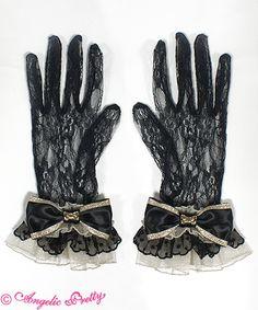 Angelic Pretty - Elegant Princess Gloves in Black x Gold