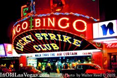 1960 View of the 1954 Lucky Strike Bingo Hall in Downtown Vegas.