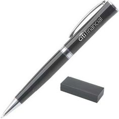 The Callard Company from New Albany OH USA Twist-action ballpoint pen. Black lacquer finish with flat top and silvertone points. Ballpoint Pen, Polished Chrome, Office Supplies, Action, Events, Ink, Writing, Black, Group Action