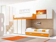 Modern Kids Bedroom: Colorful Loft Bed Design by Clever - Fun Bedroom Ideas Modern Kids Beds, Contemporary Bunk Beds, Modern Kids Bedroom, Modern Bunk Beds, Modern Loft, Bedroom Ideas, Bed Ideas, Bedroom Inspiration, Cool Loft Beds
