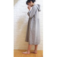Hoodie Dress Pattern Relaxing one-piece dress with hood, which has the same bodice line as It is also nice for the layered style.L Fabric you need:  Dress Patterns, Sewing Patterns, Linnet, Hoodie Dress, One Piece Dress, Cute Pattern, Smocking, Bodice, Midi Skirt