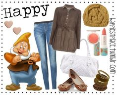 Happy. Snow whoteS brown shirt. Blouse. blue jeans.