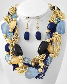Chunky Blue and Gold Tone Statement Necklace Earring Set