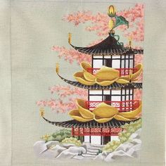 Handpainted Needlepoint Canvas Leigh Designs Golden Lotus Pagoda ON SALE