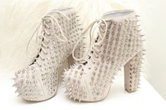 studded Jeffery Campbell shoes- I will be cutting hair in these!
