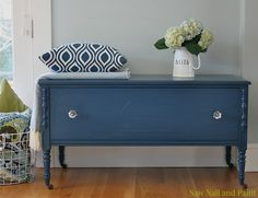 I wonder if I could turn a large drawer into something like this with a top that lifts open for storage -Navy blue cedar chest Nail Saw and Paint
