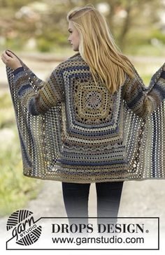 "Autumn Delight - Casaco rendado DROPS em croché, em forma de quadrado, em ""Delight"". Do S ao XXXL. - Free pattern by DROPS Design"