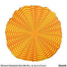 Abstract Geometric Sun-Like Pattern Round Pillow