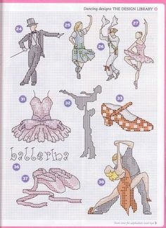 0 point de croix danseuses danse - cross stitch dancers