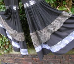 Womens wide leg super ruffle pants in black and shades of grey. Hippie, boho, pixie, tribal fusion belly dance clothing by Peacock and Rose.